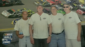 NASCAR Hall of Fame  (L-R)  Craig Schenk -DEI #38  Mike Paige (CETA BB #4)  Jim Smith  Bob Conner